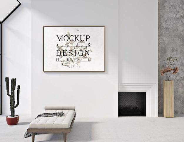 Modernes zeitgenössisches wohnzimmerdesign mit modellplakat und sofabank Premium PSD