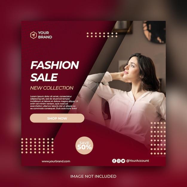 Modeverkauf banner oder quadratischer flyer für social media post vorlage Premium PSD