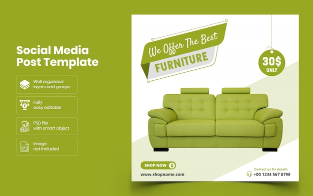 Möbel social media banner vorlage Premium PSD