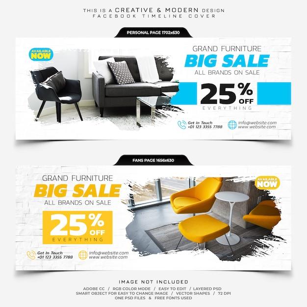 Möbelverkauf facebook timeline cover banner Premium PSD