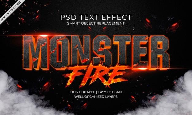 Monster feuertext-effekt Premium PSD