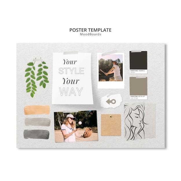 Moodboard template design für poster Kostenlosen PSD