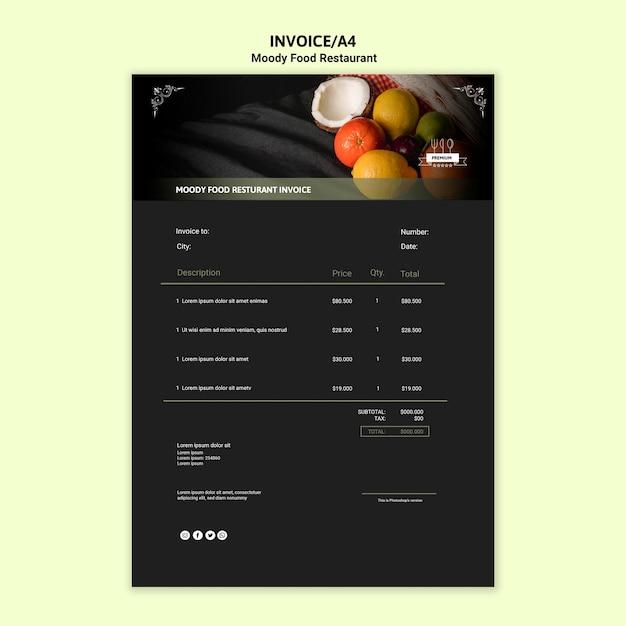 Moody food rechnungsvorlage Kostenlosen PSD