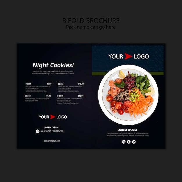 Moody food restaurant bifold broschüre vorlage Kostenlosen PSD