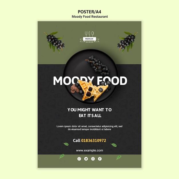 Moody food restaurant poster vorlage Kostenlosen PSD