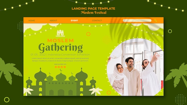 Moslemisches sammeln der landingpage-vorlage Kostenlosen PSD