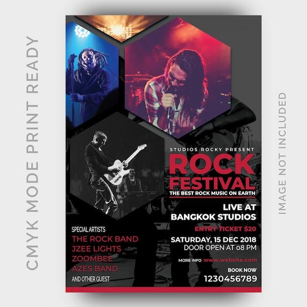 Musik festival poster. flyer entwurfsvorlage Premium PSD