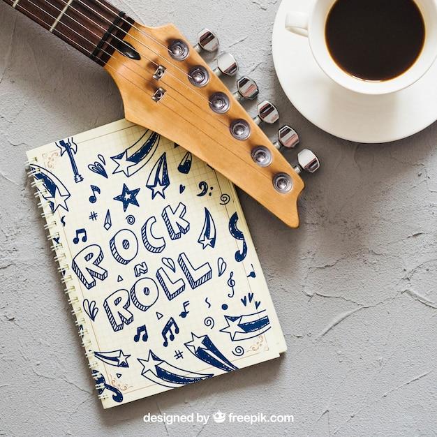 Musik mockup mit gitarre Kostenlosen PSD
