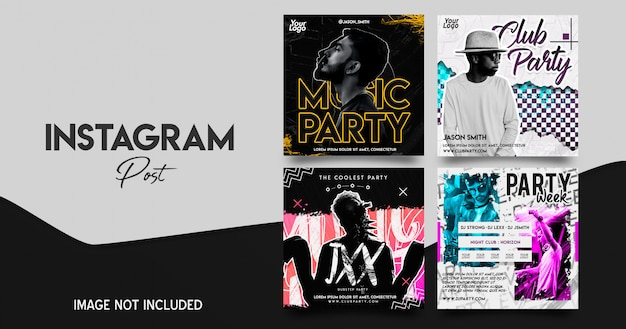 Musikfestival instagram post set Premium PSD