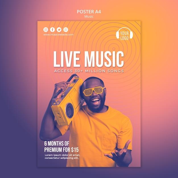 Musikkonzept poster vorlage Kostenlosen PSD
