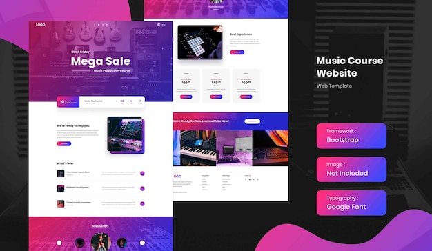 Musikproduktions-online-kurs landingpage-website-vorlage Premium PSD