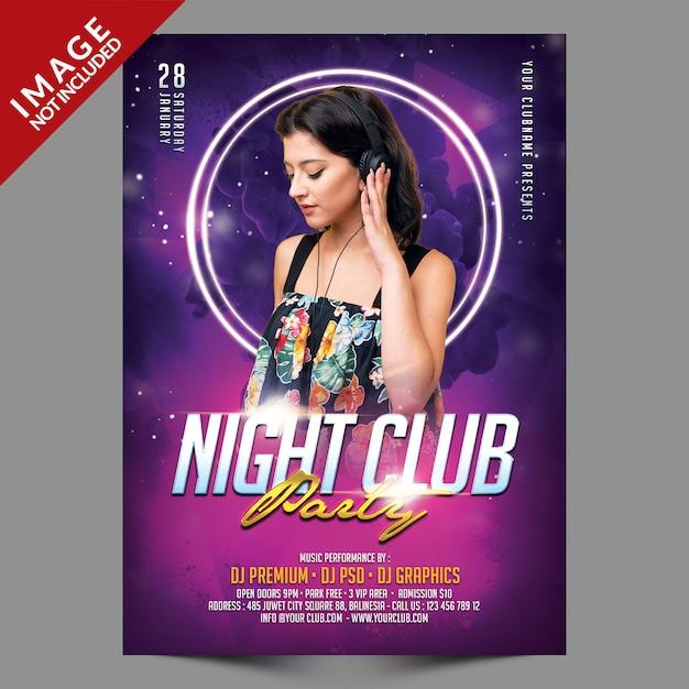 Nachtclubparty flyer vorlage Premium PSD