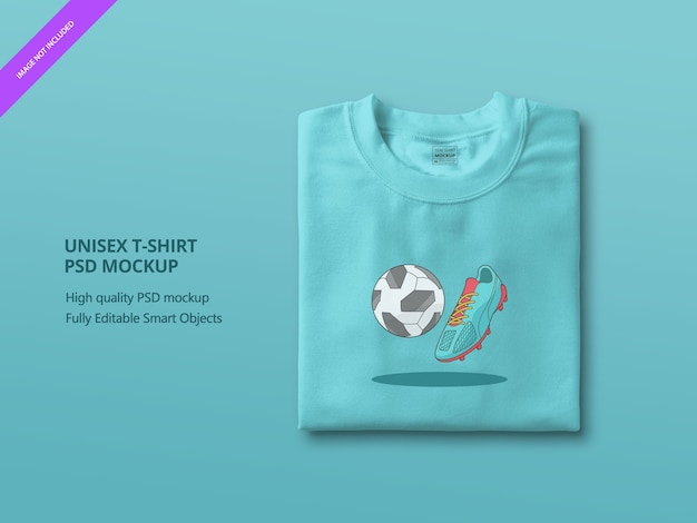 Nahaufnahme auf blue folded t shirt mockup Premium PSD