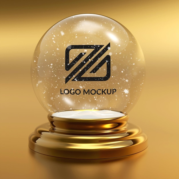 Nahaufnahme auf logo mockup schneeball Premium PSD