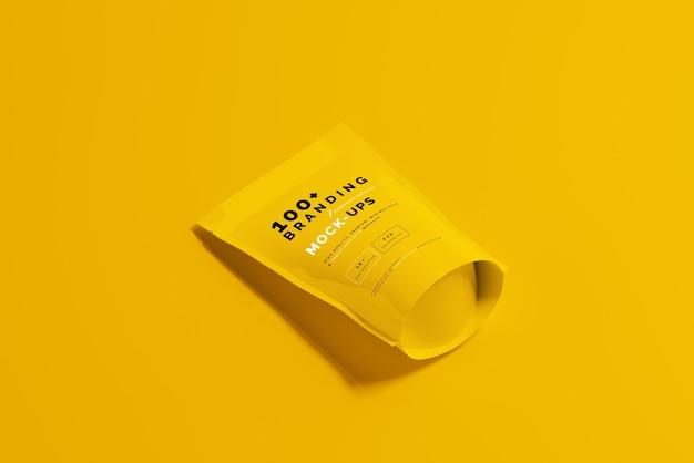 Nahaufnahme auf verpackung von doypack standup pouch mockup Premium PSD
