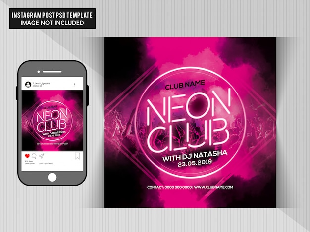 Neon club party flyer Premium PSD