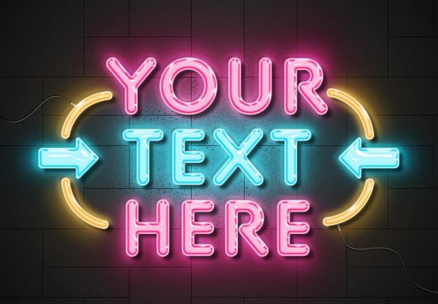 Neonzeichen-texteffekt auf paneelwand mit drähten Premium PSD