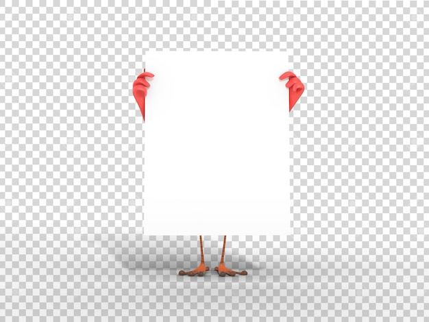 Nette bunte maskottchen-illustration des charakters 3d, die weißes leeres plakat mit transparentem hintergrund hält Premium PSD