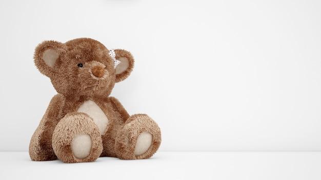 Netter teddybär mit weißem copyspace Kostenlosen PSD