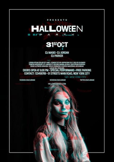 Nettes mädchen auf halloween-plakat mit störschubeffekt Kostenlosen PSD