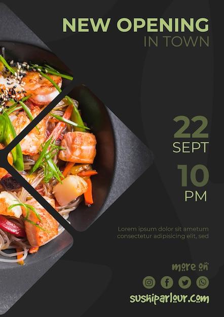 Netzfahnenschablone für japanisches restaurant Kostenlosen PSD