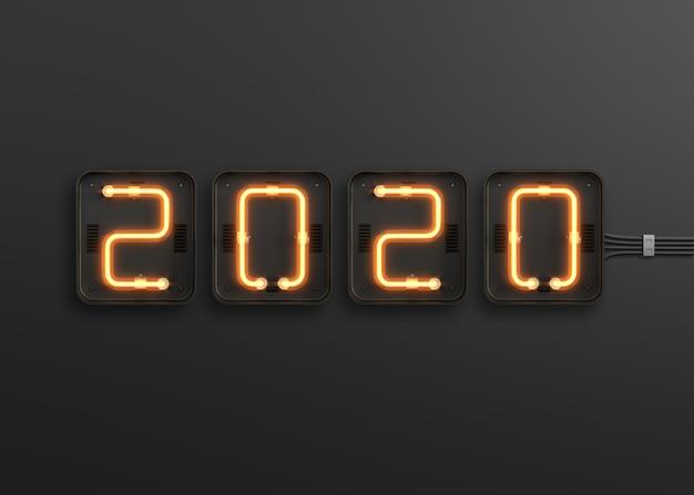 Neues jahr 2020 aus neonlicht Premium PSD