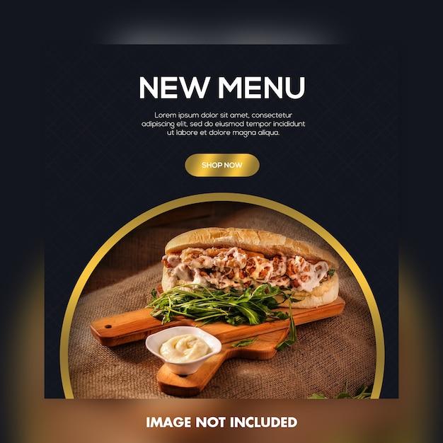 Neues menü essen social media banner vorlage Premium PSD