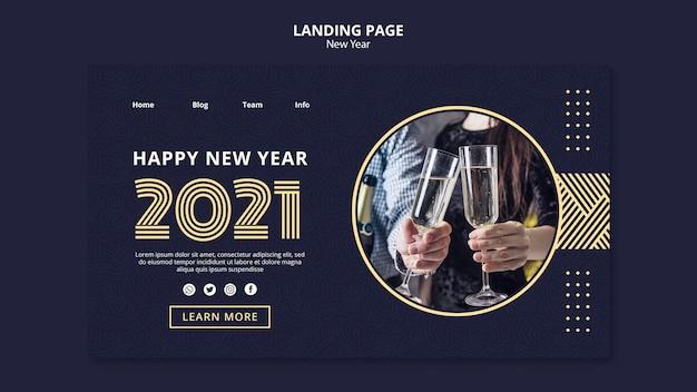 Neujahrskonzept landingpage vorlage Premium PSD