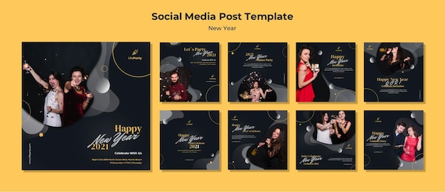 Neujahrskonzept social media post vorlage Kostenlosen PSD