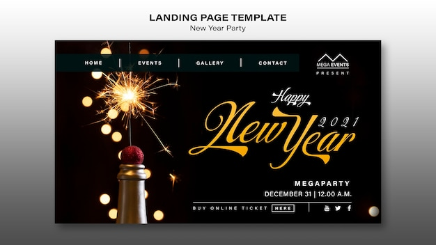 Neujahrsparty landing page Premium PSD