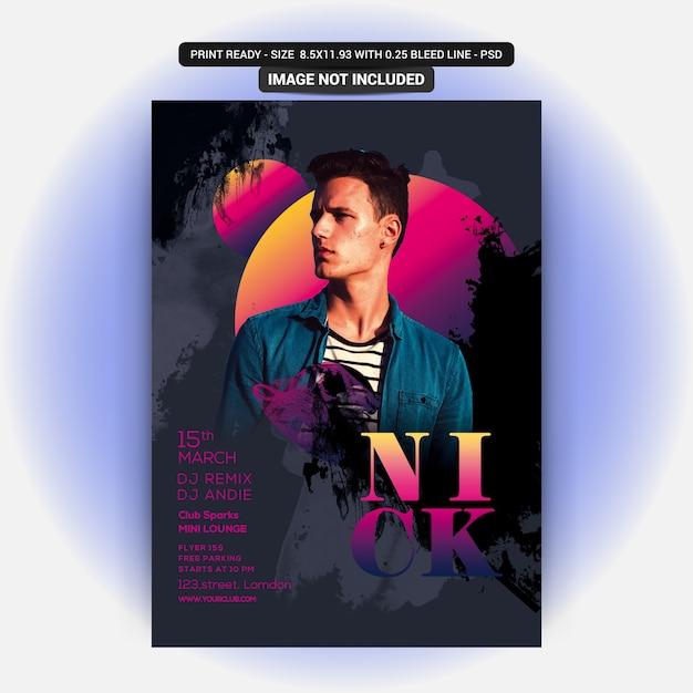 Nick dj party flyer Premium PSD