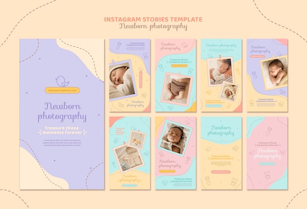 Niedliche neugeborenen-fotoshooting-instagram-geschichten Premium PSD