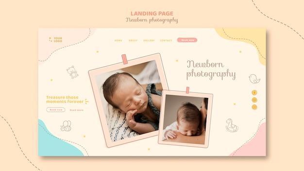 Niedliche schlafende baby-landingpage-vorlage Kostenlosen PSD