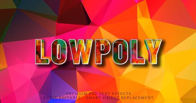 Niedriger poly-stileffekt psd des textes 3d Premium PSD