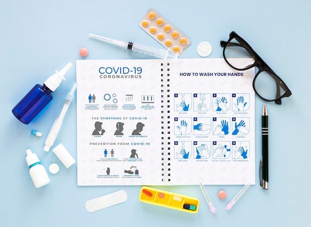 Notebook mit coronavirus Kostenlosen PSD