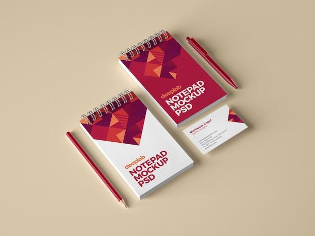 Notizblock- und visitenkarten-branding-modell Premium PSD