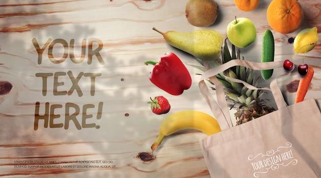 Obst und gemüse auf einem rustikalen holztischmodell Premium PSD