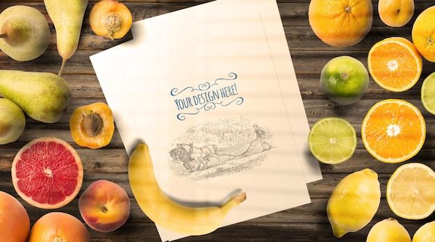 Obst und menü mockup vintage tisch Premium PSD