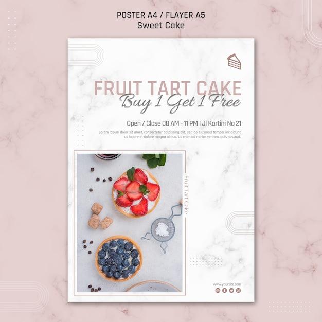 Obstkuchenkuchenplakatschablone Kostenlosen PSD