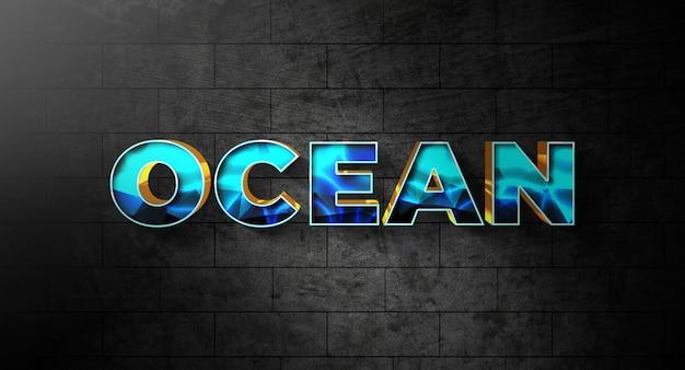 Ocean text style effektvorlage Premium PSD