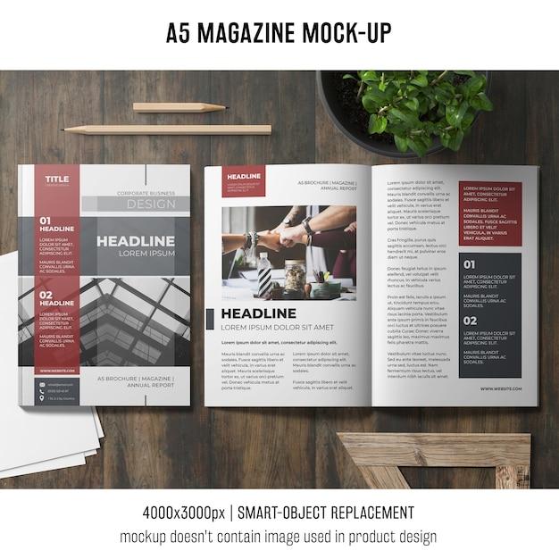 Öffnen sie das a5-magazin-modell Kostenlosen PSD