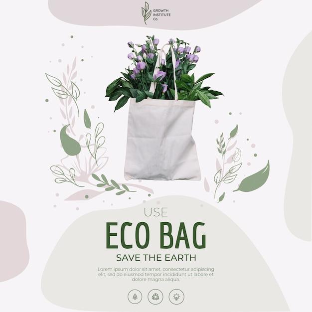 Öko-tasche für blumen und einkaufen Kostenlosen PSD