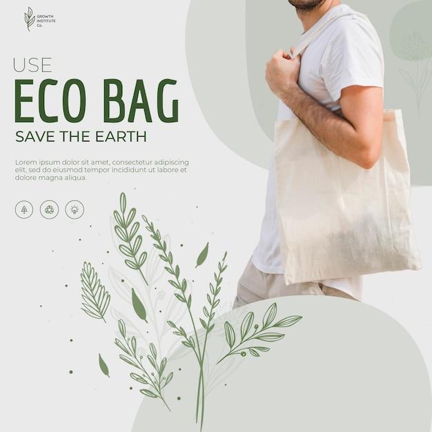 Öko-taschenrecycling für umgebungsquadratflieger Kostenlosen PSD
