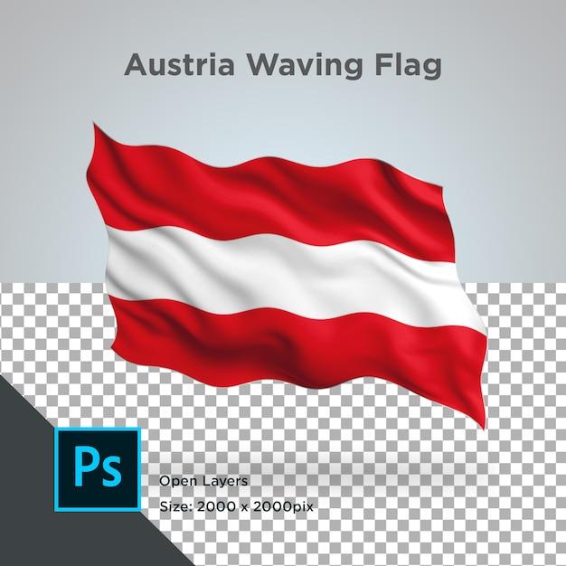 Österreich-flaggen-welle im transparenten modell Premium PSD