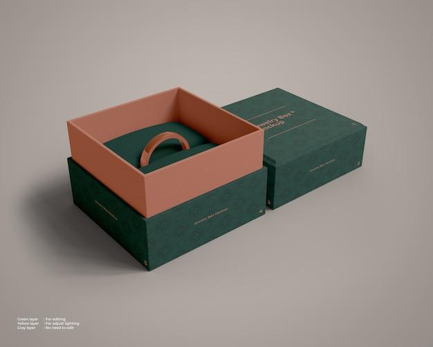 Offenes modell der schmuckschatulle mit einem ring im inneren Premium PSD