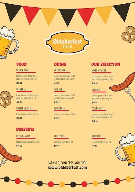 Oktoberfest-menüvorlage Kostenlosen PSD