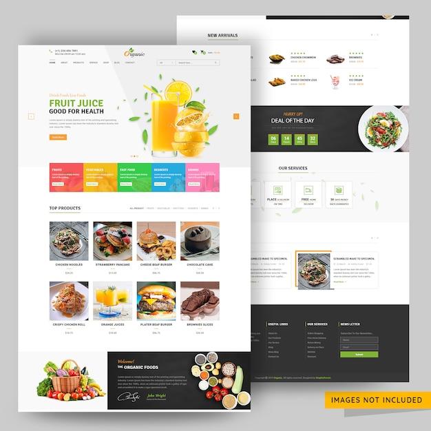 On-line-webseitenschablone des e-commerce-speichers der früchte und der nahrung Premium PSD