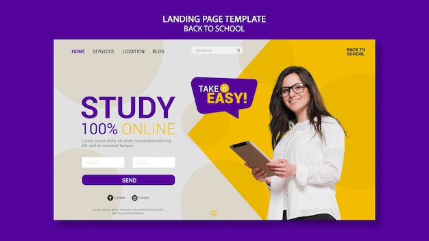 Online-landingpage für den schulanfang Premium PSD
