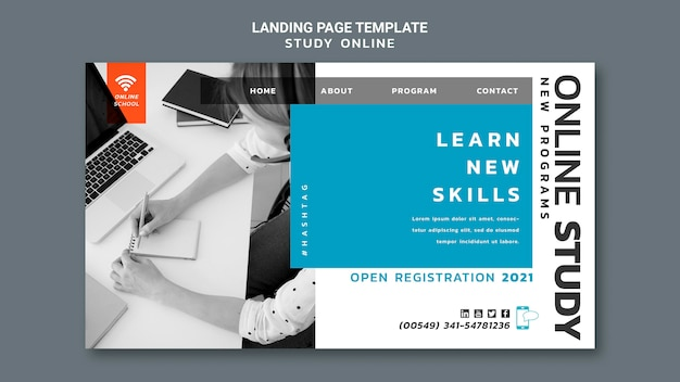 Online-landingpage für studien Premium PSD