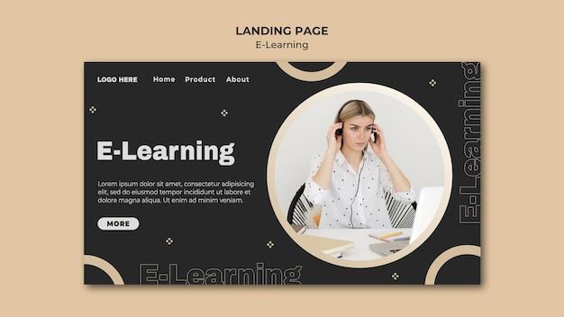 Online-lern-landingpage-vorlage mit foto Kostenlosen PSD